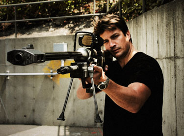 Nathan with Halo sniper rifle